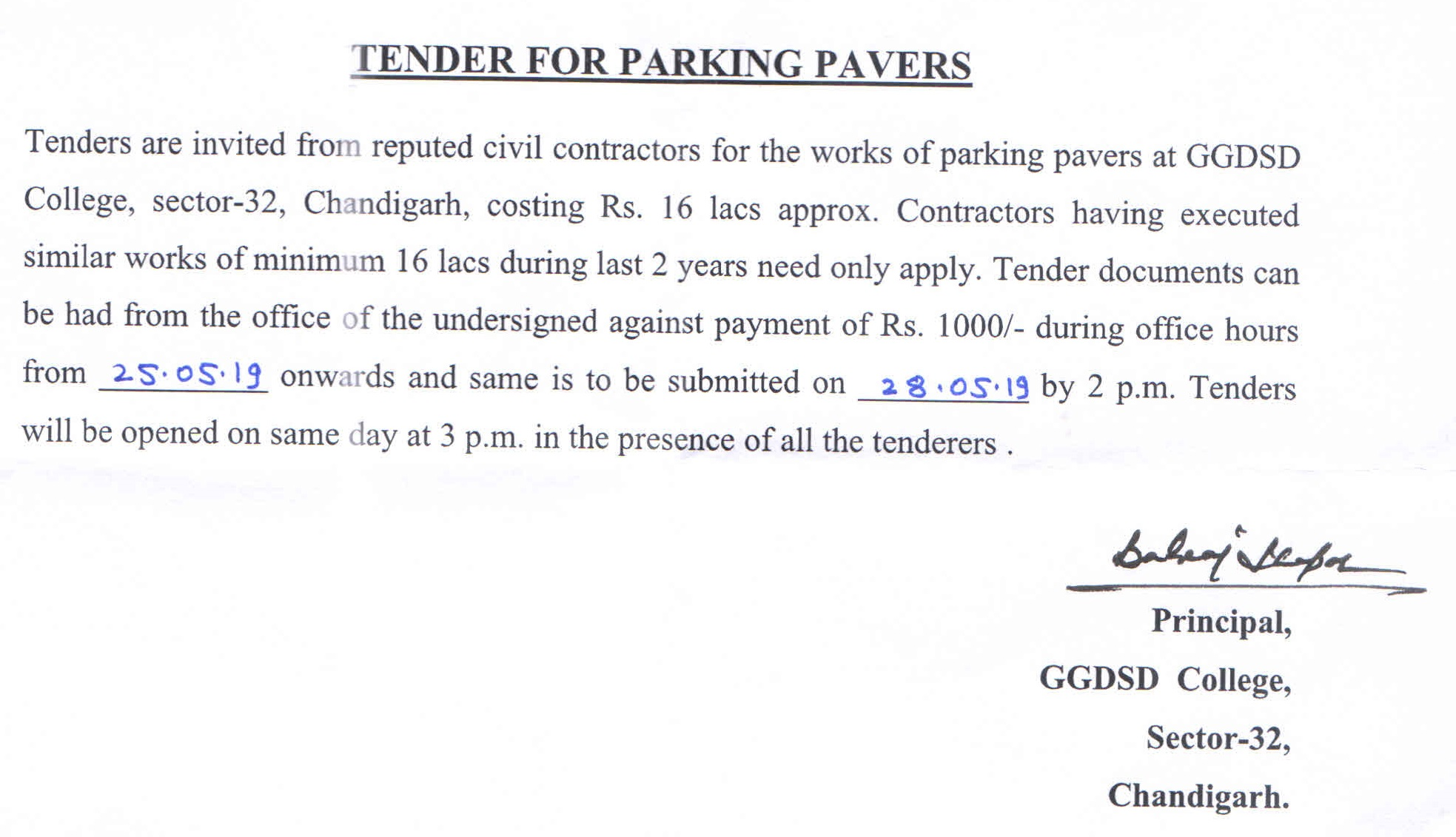 Tender for Parking Pavers